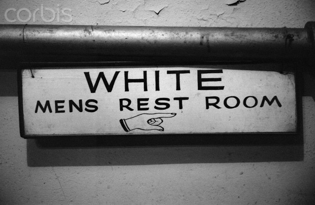 White Only Restroom Sign