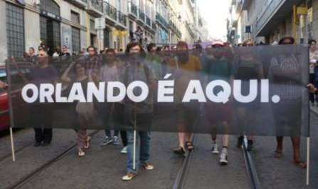 """Orlando is here"" image from Lisbon Pride parade via Cáscara Amarga"