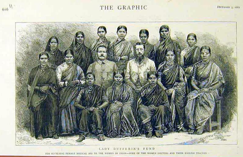 Black and white pencil sketch from an 1800s magazine showing a number of Hindi women sitting for a picture with two white men