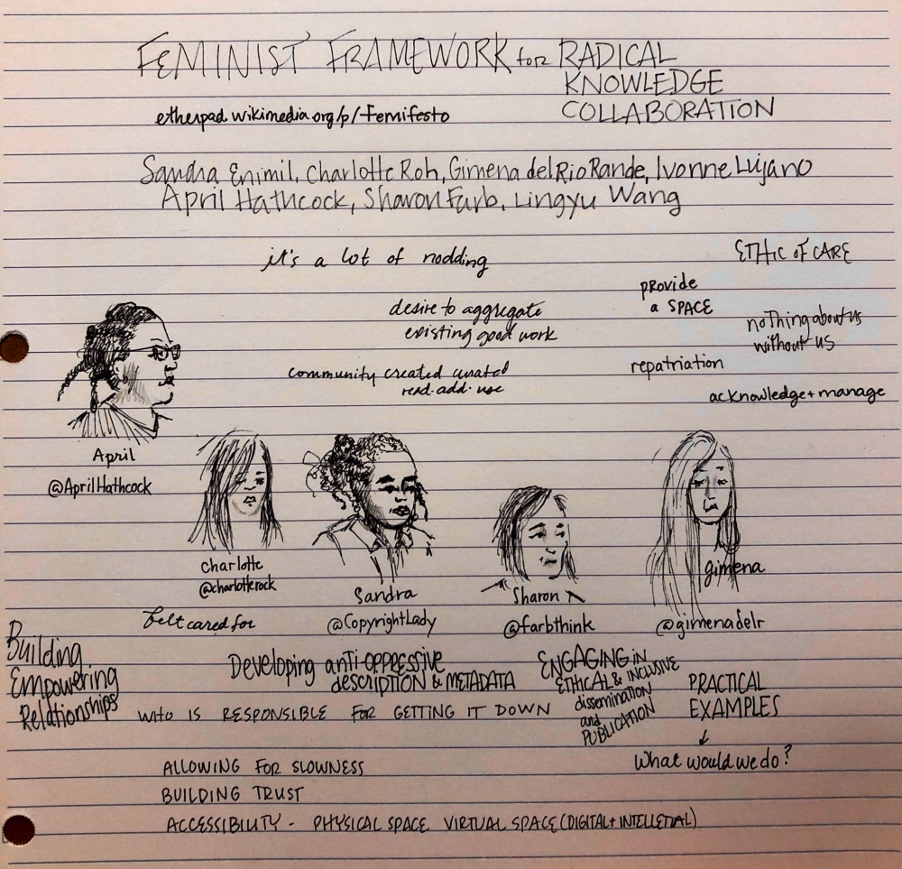 Doodle of presenter faces and key concepts from the Femifesto presentation.